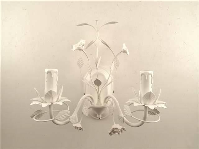 Applique roselline ferro bianco 2 luci