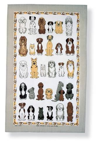 Asciugapiatti - tea towel cotone cani cornice grigia