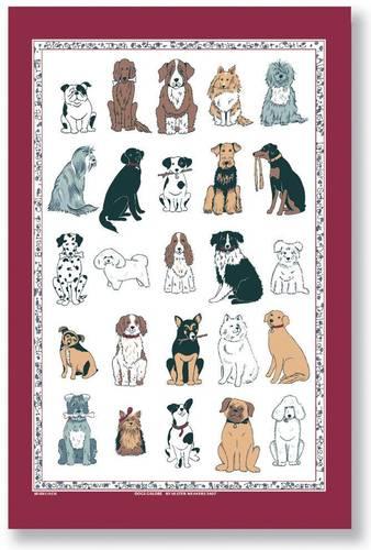 Asciugapiatti - tea towel cotone cani cornice rossa