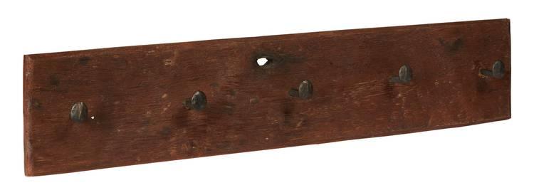 Appendiabiti legno rustico vintage 5 ganci a chiodo