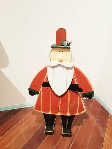 Babbo natale legno vintage rosso 120h