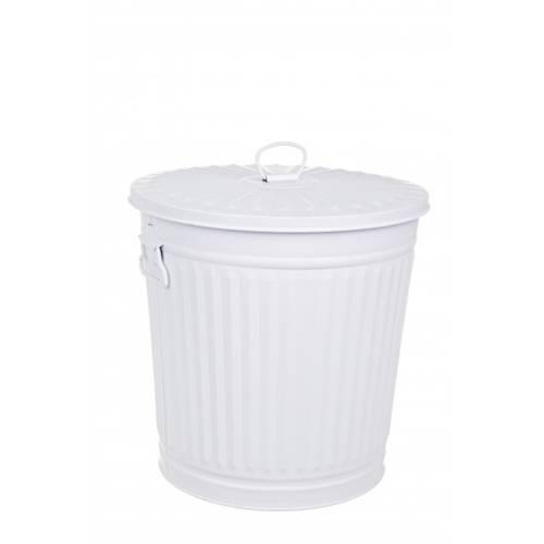 Bidone metallo bianco opaco 35L