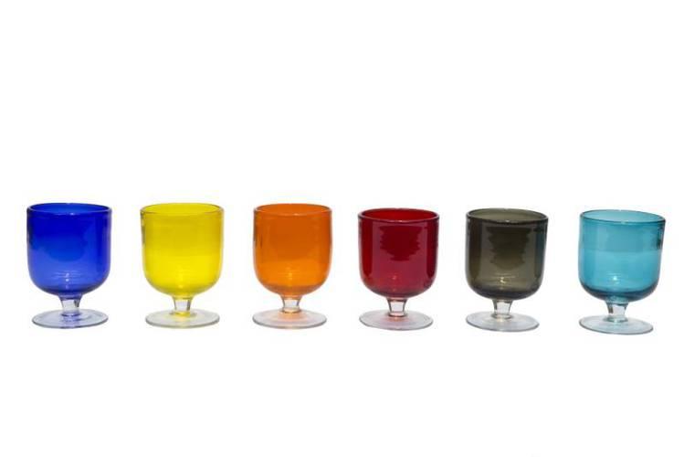 Bicchiere calice basso pasta di vetro colorata 6 pz