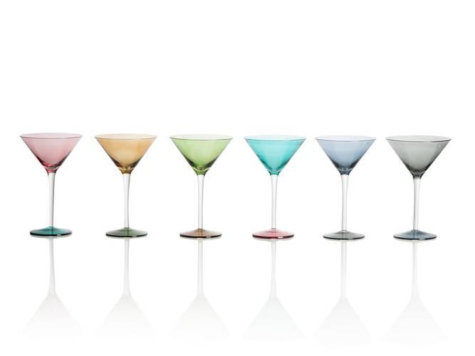Calice martini vetro colorato 6pz