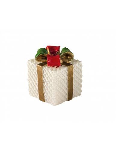 Candela natalizia pacchetto regalo fiocco rosso e verde 7h