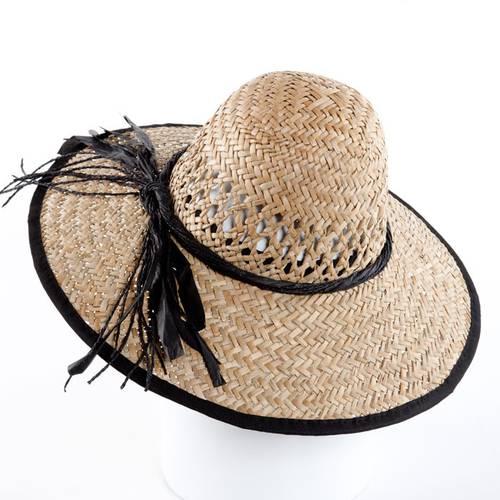 Cappello paglia donna tesa larga bordo nero