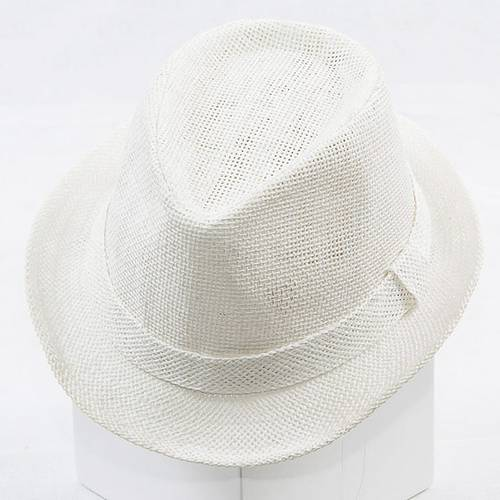 Cappello rafia bianca tipo borsalino con fodera