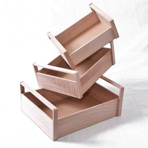 Cassetta legno abete naturale c/manici