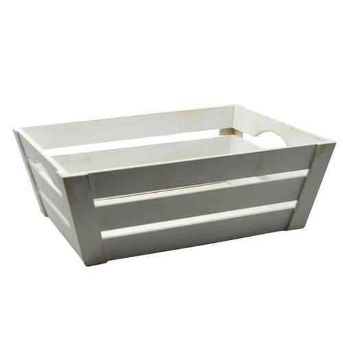 Cassetta legno bianco svasata piccola 39x29