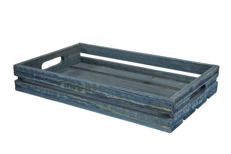 Cassetta legno blu rettangolare 38x23