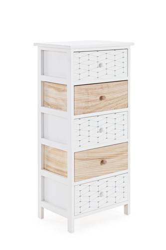 Cassettiera legno alveare bianco e naturale 5 cassetti