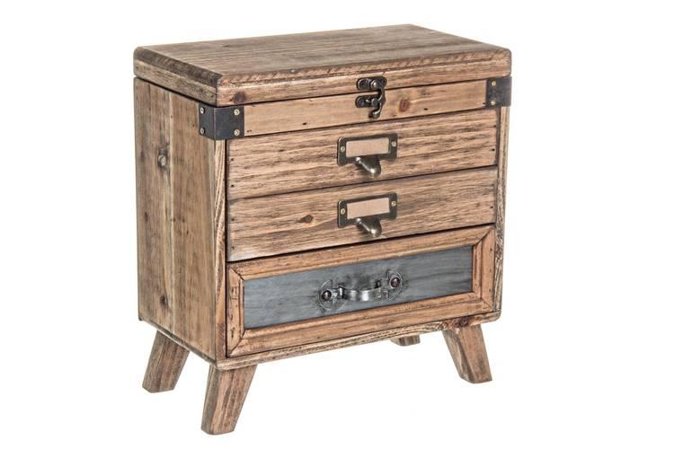 Cassettiera legno officina da tavolo 3 cassetti+ 1 anta