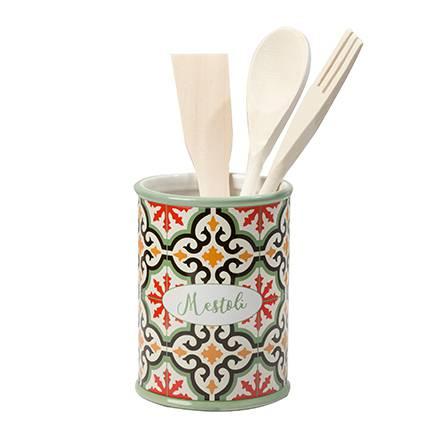 Barattolo portamestoli Cefalù ceramica colorata