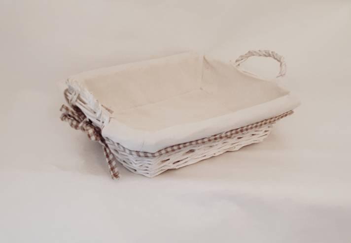 Cestino portapane rettangolare vimini bianco fodera quadretti