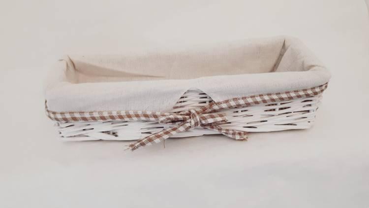 Cestino rettangolare stretto vimini bianco fodera quadretti
