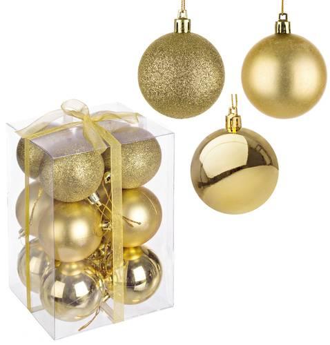 Confezione 12 sfere oro decoro albero cm 6