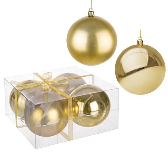 Confezione 4 sfere oro decoro albero cm 10