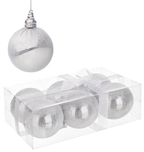 Confezione 6 sfere argento decoro albero cm 8