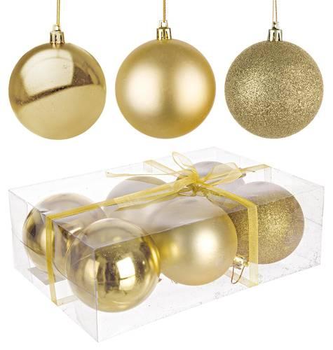 Confezione 6 sfere oro decoro albero  cm 8