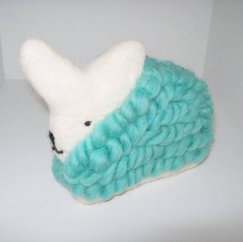 Coniglio lana azzurro