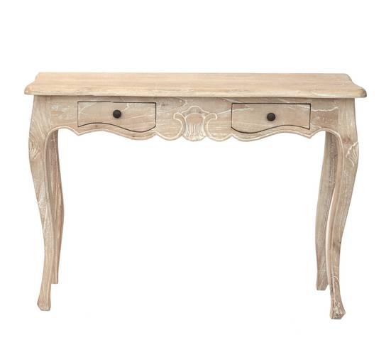 Consolle legno naturale cedro shabby con 2 cassetti cm100