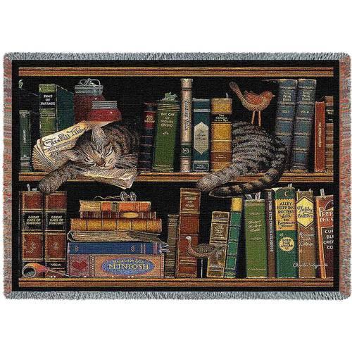 Plaid tessuto a telaio Gatto su libri