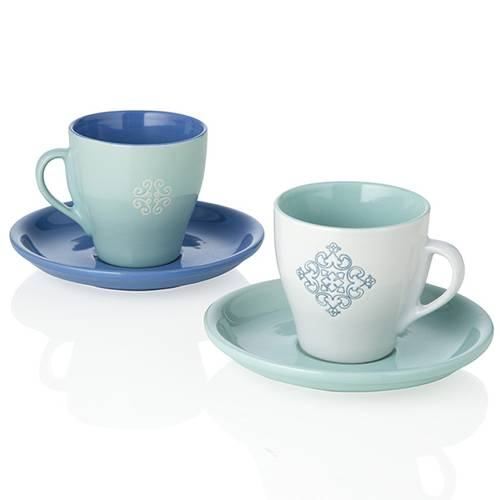 Coppia tazze da caffè panarea bianco-turchese
