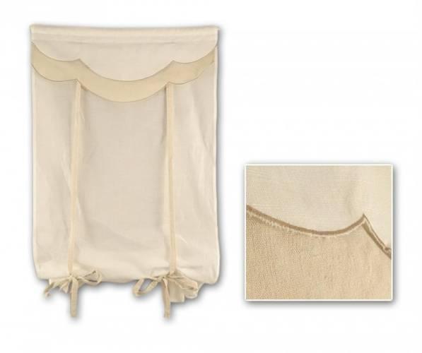 Coppia tende cotone bianco mantovana lino balze 60x160
