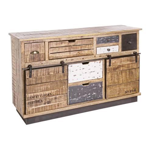 Credenza industrial legno 2 ante scorrevoli e 7 cassetti
