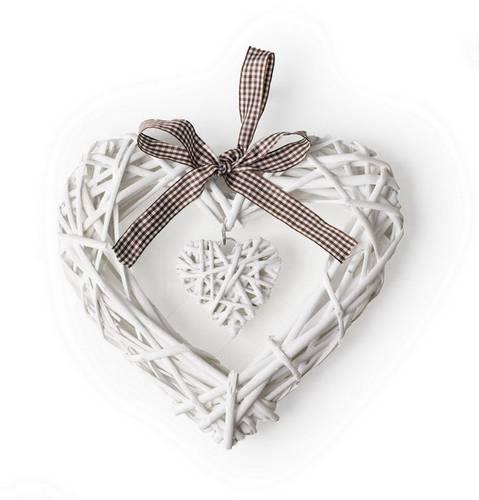 Corona cuore doppio vimini bianco