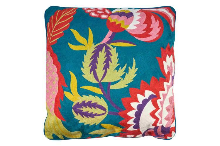 Cuscino blu ricamo fiori colorati 50x50