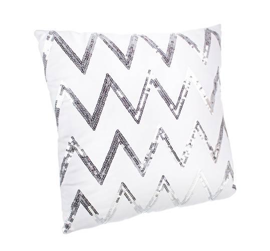Cuscino bianco zig-zag argento