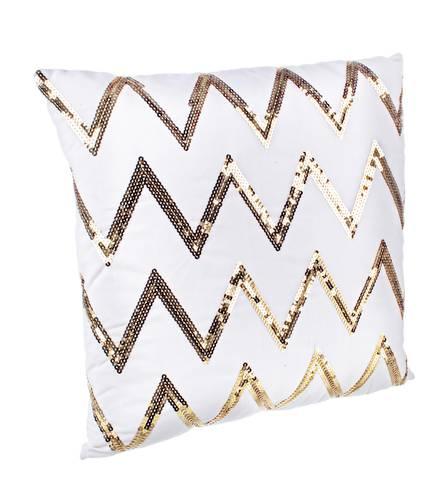 Cuscino bianco zig-zag oro