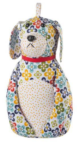 Fermaporta cane seduto fiorellato