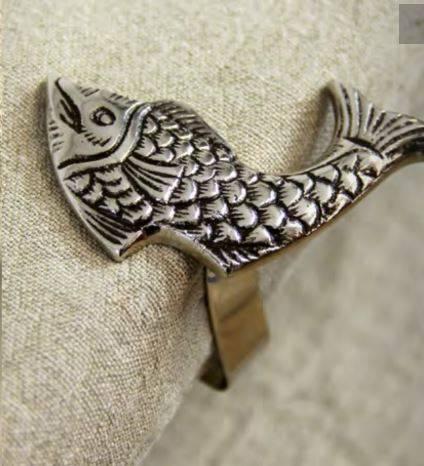 Clip fermatovaglia pesce metallo