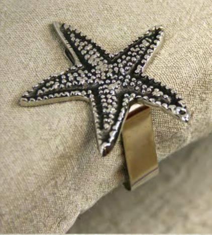 Clip fermatovaglia stella di mare metallo