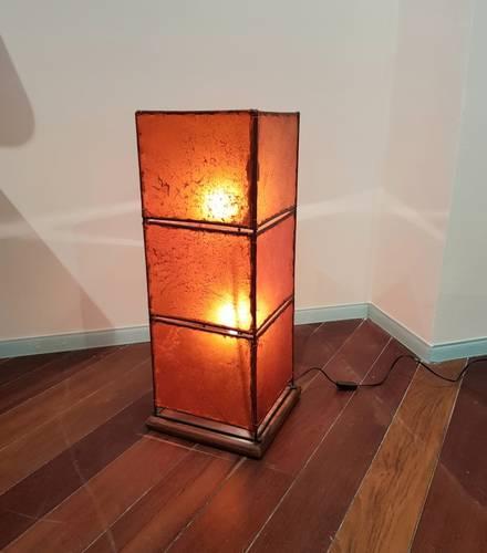 Lampada etnica pelle arancio quadrata 78h