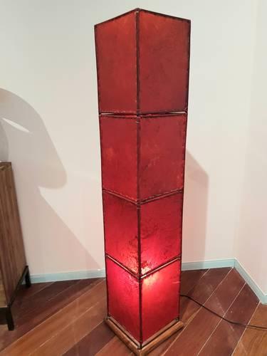 Lampada etnica pelle rossa quadrata 150h