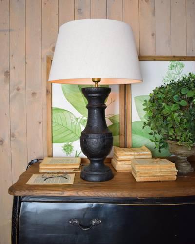 Lampada legno nero old style da tavolo 71h