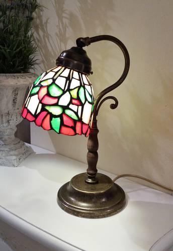Lampada tiffany da comodino fiori rosso-verde h34