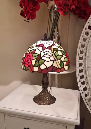 Lampada tiffany fiore rosso h43