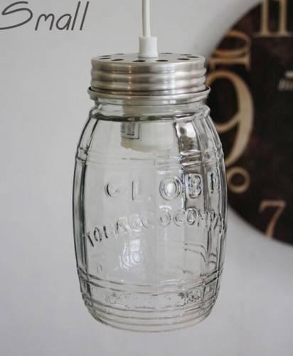 Lampadario sospensione barattolo vetro 20h cavo bianco