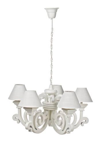 Lampadario legno bianco riccioli 5 luci