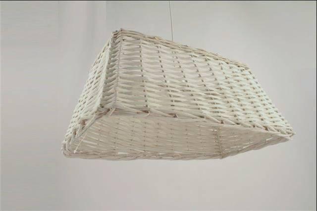 Lampadario rettangolare vimini bianco