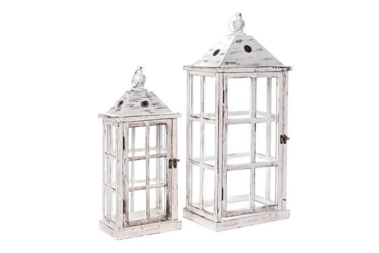 Lanterna legno bianca finestrata