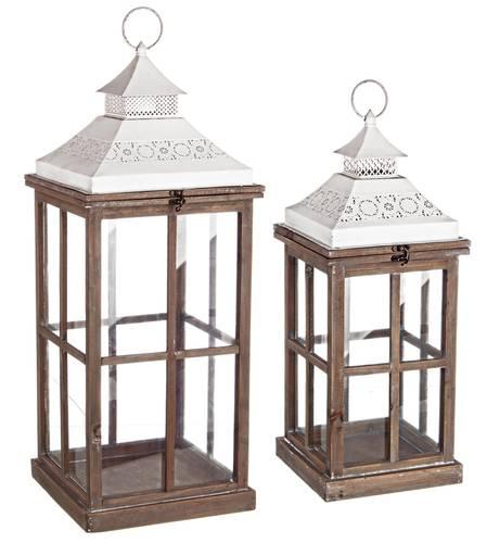 Lanterna legno naturale con tetto bianco decoro merletto