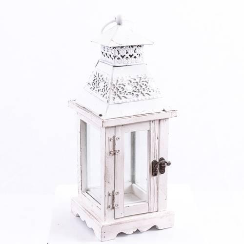 Lanterna legno bianco tetto metallo decorato h34