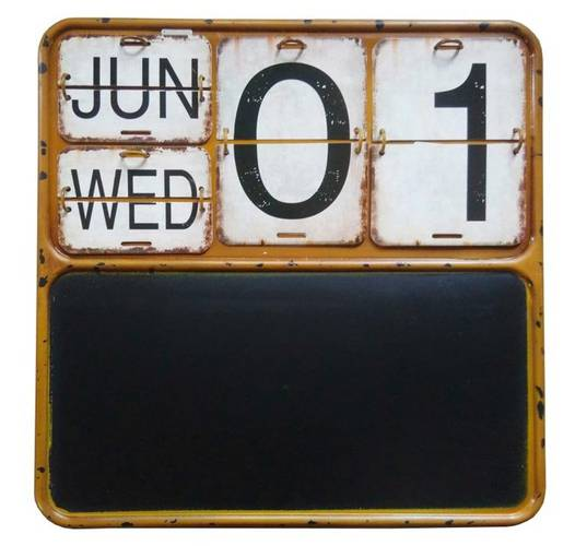 Lavagna calendario cornice metallo giallo