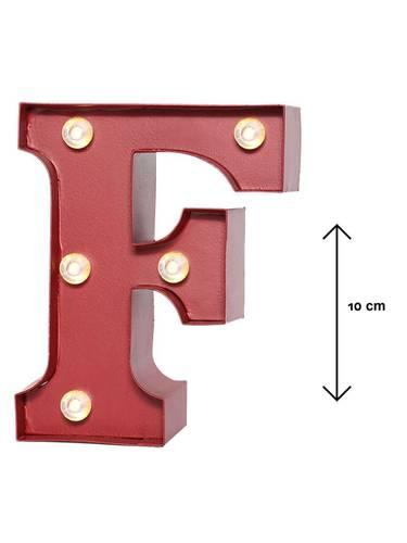 Lettera metallo rossa luminosa F
