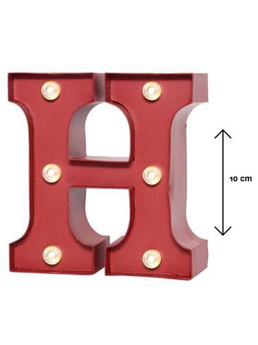 Lettera metallo rossa luminosa H